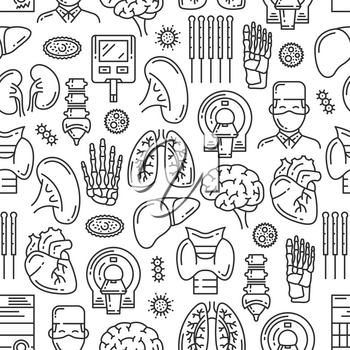Medical seamless pattern of organs and body joints. Vector medicine doctor, mri scanner or X-ray spine bones, heart or brain and virus infection or lungs, kidney or pancreas and trachea or liver