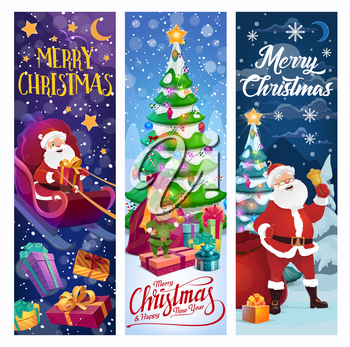 Christmas tree, Santa and Xmas gifts vector design. Reindeer sleigh with Claus, elf and winter holidays present boxes, spruce, bell and snow, star, ball and candy cane, ribbon bow and snowflake