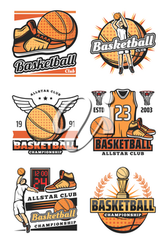 Basketball sport game vector isolated icons. Championship tournament signs with ball and shoes, athlete players throwing ball into basket, t-shirt and trophy cup. Team game symbols score and wings