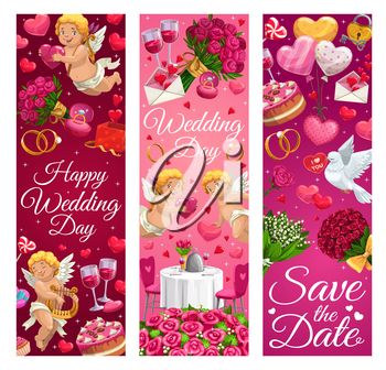 Happy wedding day, save the date greetings and romantic signs. Vector cupid playing on harp, engagement rings and dining table, flower bouquets and gifts. Heart shaped air balloons and padlock