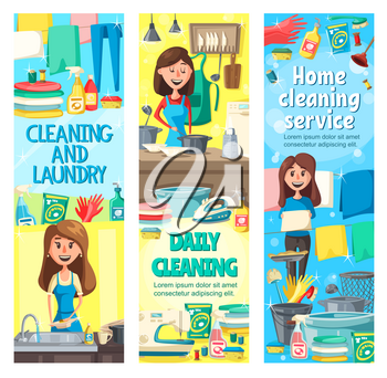 House cleaning service and housework vector design of cleaning, laundry, cooking and washing dishes. Housewife, professional cleaner or maid doing household chores with broom, brush and gloves