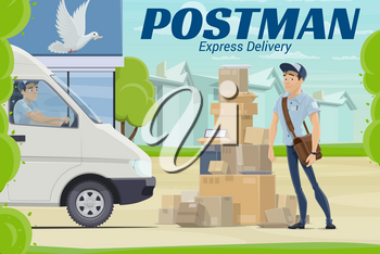 Mail delivery postal service vector design of postman or courier standing near post office with parcels, letter envelopes and boxes, packages and mail truck. Mailman profession, postal transportation
