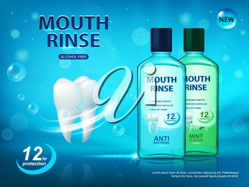Mouth rinse, dental hygiene poster, vector ad for teeth and oral cavity cleaning. White healthy tooth, bottles with dental care product, mint flavour, anti bacterial, alcohol free plaque protection