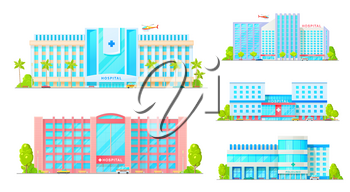 Hospital buildings isolated medical treatment establishments. Vector clinics facade, exterior with emergency transport, plane and car, parking zone, trees. Healthcare and medical diagnostics, urgency