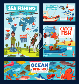 Sea fishing, fishery tentacles and seafood. Vector cartoon fisherman and marine animals, octopus, fish and crab. World map and fisherman with rod, fishing licence and boat or ship, backpack and net