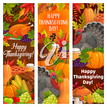 Thanksgiving holiday turkey, harvest, cornucopia and food. Vector banners with autumnal crop and leaves. Happy Thanks Giving day cartoon greeting cards with autumn pumpkin, corn, grapes and mushrooms