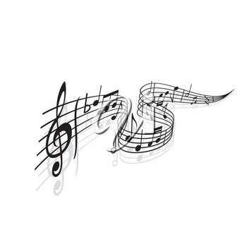Musical wave with vector notes of sheet music and shadows. Black swirl of music staff or stave with melody or song notes, treble clef, flat tone symbol and bar lines, musical notation themes