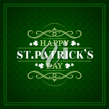 Happy St Patrick day, Irish Celtic holiday greeting lettering on green shamrock clover leaf pattern background. Vector Ireland traditional Saint Patrick party poster with ornate frames