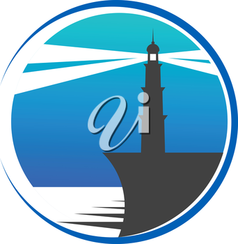 Circular blue lighthouse button or icon with a lighthouse on the edge of a pier with beams of light piercing the twilight to warn shipping of danger, depicting safety and security
