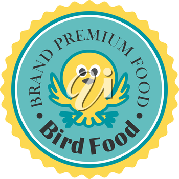 Premium bird food icon with a cute little bird fluttering its wings inside a blue and gold medallion with the text