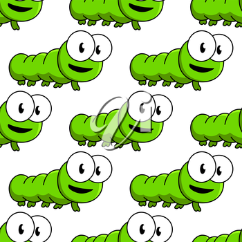 Seamless pattern of cute cartoon green caterpillars with large googly eyes in square format