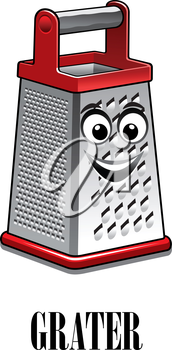 Cartoon stainless steel kitchen grater with red trim and a big happy smile, vector illustration isolated on white