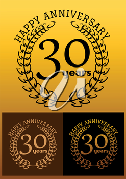 Laurel wreathes in three variations for anniversary and heraldry design with text Happy Anniversary 30 years. These icons depicts the completion of 30 years or 3 decades
