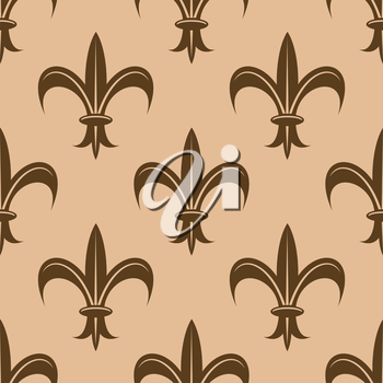 Fleur de lys seamless pattern in brown and beige colors for heraldic background or backdrop design