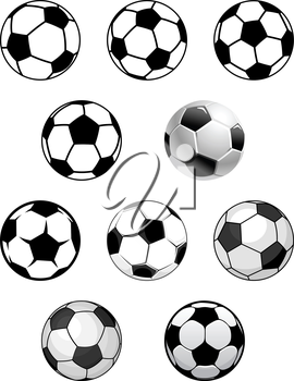 Set of soccer and football balls isolated on white background for sports design