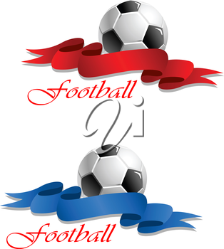 Soccer or football emblem with ball and decorative curly ribbon in two variations