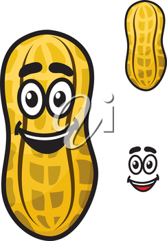 Happy little cartoon peanut or ground nut in its shell with a second variant without a face with a separate smile element