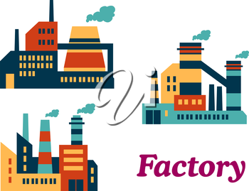 Assorted flat factories icons design in industrial estate with a word Factory at the bottom suitable for industrial and technology design