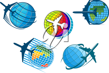 Airplane and air travel icons with five colorful vector designs of jetliners flying around globes conceptual of vacations, business flights and tourism