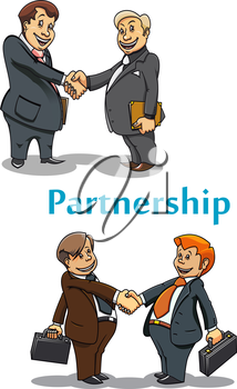 Businessmanl partnership and handshake symbol with cartoon adult and young businessman partners shaking hands