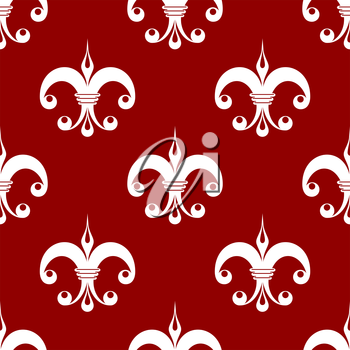 Seamless floral fleur-de-lis royal white lily pattern, isolated  on red colored background. For wallpaper, tiles and fabric design