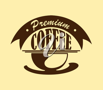 Coffee poster or icon with text – Premium Coffee -  isolated on yellow colored background . Suitable for cooking, gastronomy, cafe logo and restaurant menu design