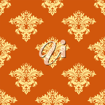 Retro yellow and orange floral seamless pattern for backdrop, wallpapers and textile design