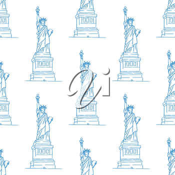 Statue of Liberty seamless pattern in outline style for travel, wallpaper, background and fabric design