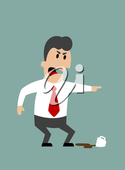 Angry boss or businessman yelling and pointing with spilled cup of coffee at feet. Flat design