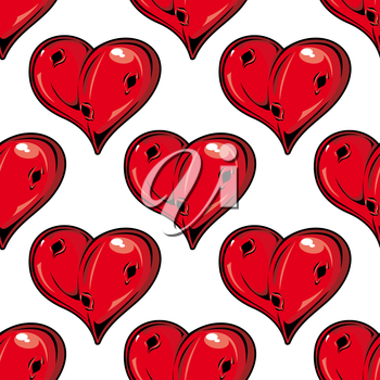 Red Valentines hearts seamless pattern with holes symbolic of love with a dimensional shine in a repeat motif in square format suitable for wallpaper, wrapping paper and fabric design