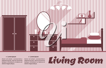 Living room flat interior in pink and red colours for infographic or apartment design