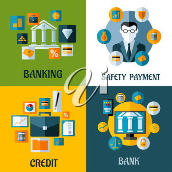 Set of banking and financial vector illustrations with a central bank, businessman, briefcase or computer surrounded by various financial icons depicting safe investments, banking and online security