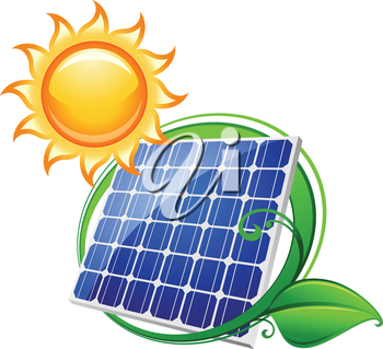 Solar panel or battery with shining sun for technology, ecology and environment concept design