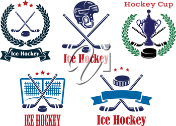 Ice Hockey sporting heraldic emblems and symbols with crossed sticks, helmet, trophu, wreath and hockey puck