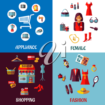 Set of four colorful shopping designs with various icons depicting appliances, female accessories store icons and fashion and clothing with text appliance, female, shopping and fashion