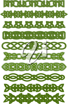 Green celtic patterns and ornaments for tattoo or ethnic decorations design