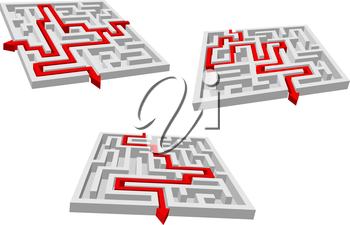 Abstract mazes or labyrinths with red arrows showing variants of brainteaser solutions for business success strategy design