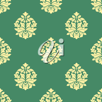 Seamless sparse yellow flowers pattern with bold leaves and dainty buds on green background