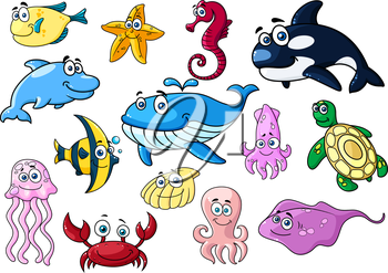 Cartoon sea animals with happy emotions isolated on white for wildlife or mascot design