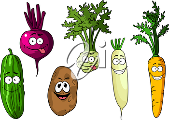 Cartoon fresh funny beetroot, potato, cucumber, carrot, kohlrabi and radish vegetables on white background