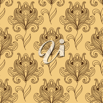 Persian brown floral motif seamless pattern on beige background with silhouettes of  vintage paisley flower on curved stem for wallpaper or textile design