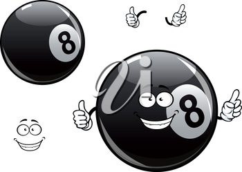 Smiling cartoon billiards, snooker or pool eight ball mascot character showing black glossy ball with number 8 and thumb up gesture