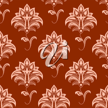 Elegant oriental stylized floral seamless pattern with delicate pink flowers on wavy leafy stems on titian background suitable for textile or interior accessories design