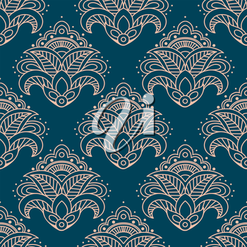 Paisley bell shaped pink flowers seamless pattern with curved elements on teal background for interior design