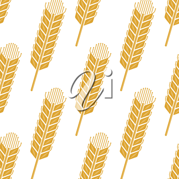 Cartoon cereal ears seamless pattern showing yellow wheat or barley spikes for agriculture or farming concept design