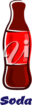 Cartoon bottle of soda drink with a blank red label and the text Soda below, for fast food or takeaway beverage design