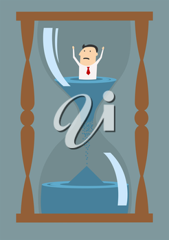Cartoon worried businessman thinking into hourglass trying to break the clock, suited for deadline or drowning in time concept design