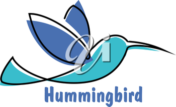 Soaring hummingbird symbol for logo or emblem design with abstract colibri little bird in shades of blue