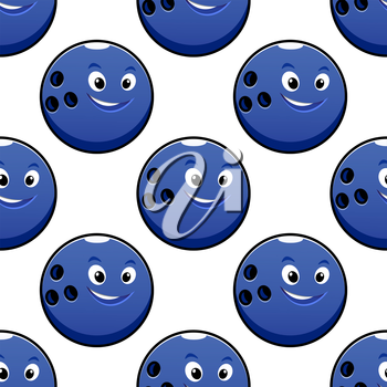 Bowling game seamless pattern with cartoon happy bright blue bowling ball characters on white background for textile or wrapping design