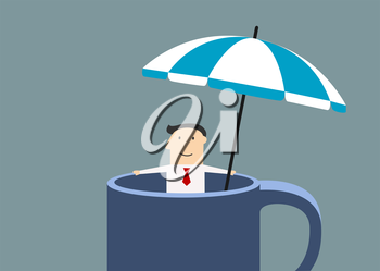 Happy cartoon businessman relaxing in a huge mug under blue striped umbrella at office during break time